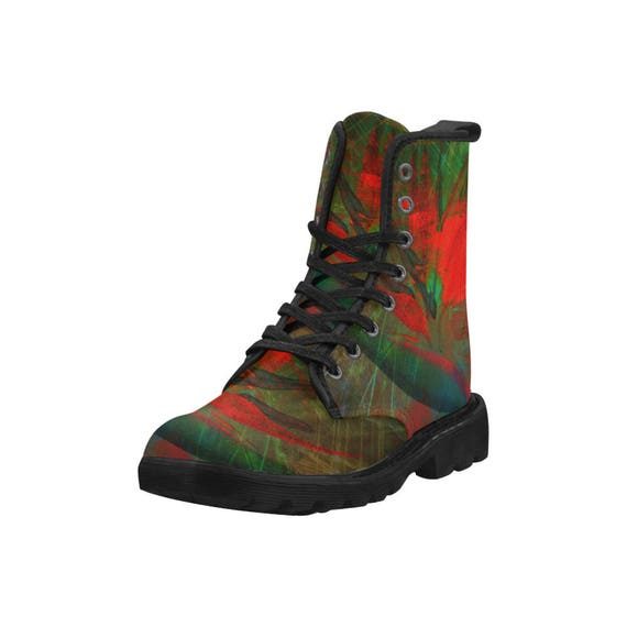 Botanical bird of paradise, Women's high top combat boots, 80's style, feminine prints