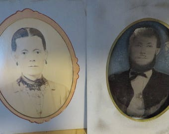 Tintype Painted Photographs Man & Woman with Vintage Oval Mats  //  Set Man and Wife  //  1800s Era Photography Tin and Paper