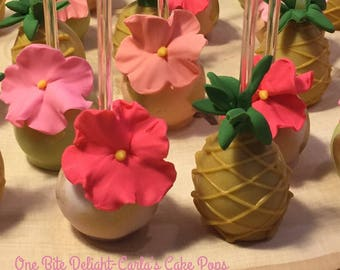 Luau Cake Pops, 12 pops. Acrylic sticks and straws may vary depending on availability.