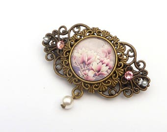 Small hairclip with magnolia in pink bronze flowers hair jewelry bridal hair accessories shell pearl pearl gift for her