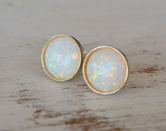 Opal Stud Earrings,White Opal Earrings Gold Filled Opal Earrings Silver Opal Round Gold Studs Opal Jewelry October Birthstone Size 6mm