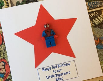 Superhero My Hero Personalised Birthday Greetings Card with 3D minifigure for Son Dad Husband Boyfriend Grandad Brother
