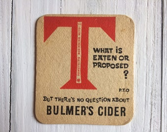 Bulmer's Cider beer mat Genuine 1980s drinks coaster from a British Pub Great Gift For Him