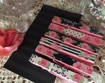 ON SALE 6 Shabby Chic Pink Black Floral Roses Stripes Polka Dots Decoupage Decorated Clothespins Pegs Magnets Optional Wedding Party Favors