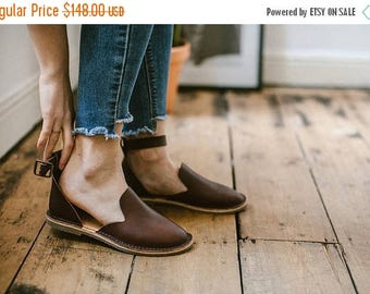 SALE 25% OFF: Brown Leather Sandals, Brown Sandals, Summer Shoes, Leather Flats, Loafers, Flat Shoes, Brown Slip Ons, Ankle Strap Sandals, C