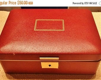 ON SALE - Vintage Brown Farrington Trinket Jewelry with Removable Tray Box