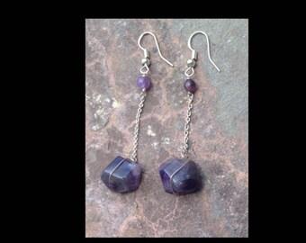 Sterling Silver Amethyst Chain Earrings