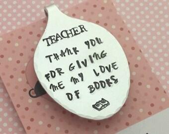 Teacher gift, Teacher bookmark, bookmark, hand stamped bookmark, End of term gift, Hand Stamped gift, gift for teacher,