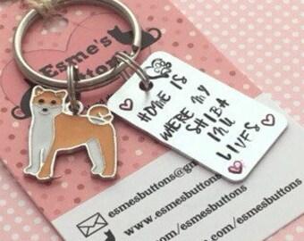 Shiba Inu keyring , Hand Stamped dog keyring,Shiba Inu gift, dog lover gift, gift for him, gift for her, Shiba Ina owner,