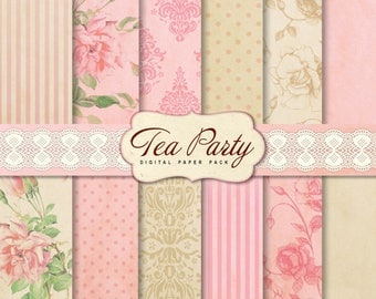 Tea Party Digital Scrapbook Papers, 12 Shabby Chic Digital Papers, for invites card making digital scrapbooking