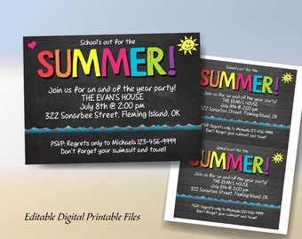 School's Out For the Summer, School's Out End of the Year Party, Pool Party, Editable Printable Invitation