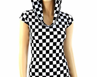 Black & White Checkered Winners Flag Print UV Glow Cap Sleeve Romper w/Self-Lined Hood Bodysuit Rave Clubwear EDM Festival  -E7977