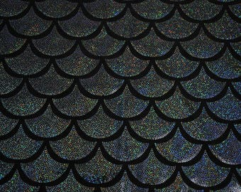 Black Dragon Scale Spandex Fabric Holographic Mermaid Fish Reptile Lizard Charcoal Sparkly Glistening Shiny Chaotic Evil (By the Yard)