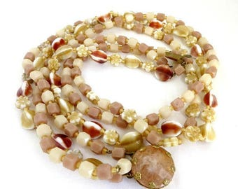 ON SALE! Cream Beaded Triple Strand Necklace, Vintage Costume Jewelry Glass Bead Necklace