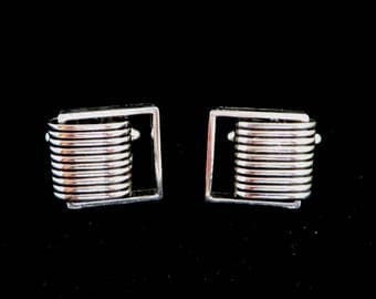 Silver Tone Cufflinks, Vintage Ridged Cuff Links, Men's Suit Accessory, Gift for Him, FREE SHIPPING