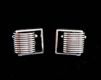 Silver Tone Cufflinks, Vintage Ridged Cuff Links, Men's Suit Accessory, Gift for Him