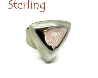 Statement Ring - Vintage Sterling Silver Triangle Ring, Wide Band Ring, Size 7, Gift for Her, FREE SHIPPING