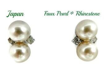 Faux Pearl Earrings - Vintage Japan Pearl & Rhinestone Earrings, Silver Tone Screwback Earrings, Gift for Her, Gift Box, FREE SHIPPING