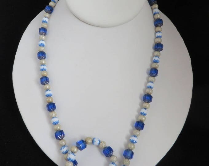 Vintage Glass Necklace, Blue, White, Cream Bead Necklace, Frosted Grooved Glass Necklace