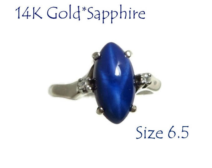 14K Gold Star Sapphire Ring - Vintage White Gold Sapphire & Diamond Ring, Gift for Her, Size 6.5