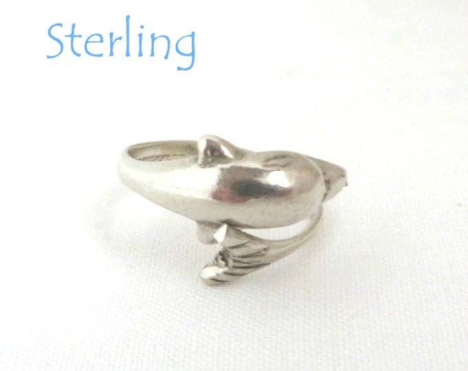 Sterling Silver Dolphin Ring, Vintage Bypass Ring, Dolphin Wrap Ring, Gift for Her, Size 6