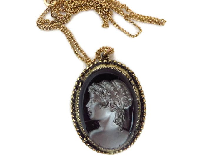 Vintage Cameo Necklace | Black Gray Glass Pendant | Gold Tone Chain Necklace | Flawed Cameo