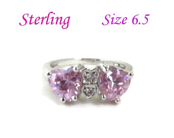 Sterling Silver Hearts Ring | Vintage Pink CZ Heart Ring | Birthday Gift | Size 6.5