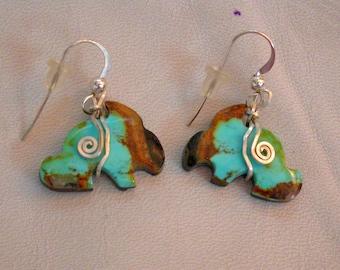 Blue Green Turquoise Rabbit Earrings/ sterling silver findings/ Pilot Mountain