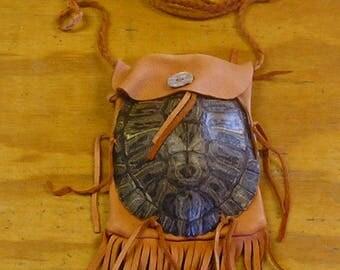 Red Ear Slider Turtle Shell & Rust Color Deer Leather Bag