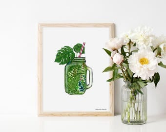 Art print with green smoothie, illustration by Joannie Houle