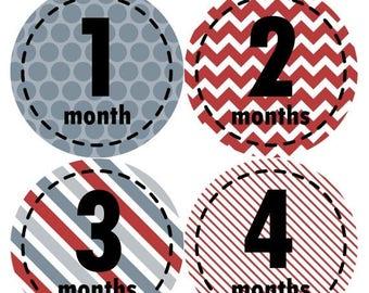 Baby Month Stickers, Baby Boy Gift, Milestone Stickers, Monthly Sticker, Monthly Baby Boy Stickers, Baby Month Milestone Stickers 261