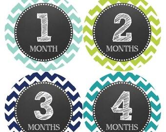 Monthly Baby Milestone Stickers Baby Boy Baby Shower Gift One-Piece Baby Stickers Monthly Baby Stickers Baby Month Sticker 072