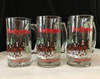 Budweiser Mugs set of 3 Clydesdales Horses