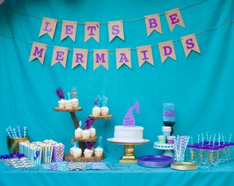 Complete  MERMAID mermaids party shower package banner balloons cups plates napkins cupcake toppers straws bags printable pink purple aqua