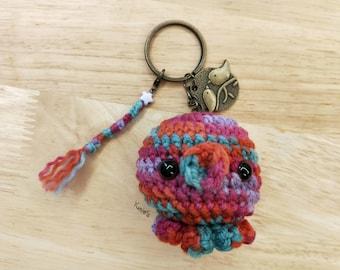 Crochet key chain: Octopus amigurumi keyring, key chain, amigurumi toy