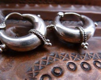 Tribal Indian Silver Hoop Chunky Earrings