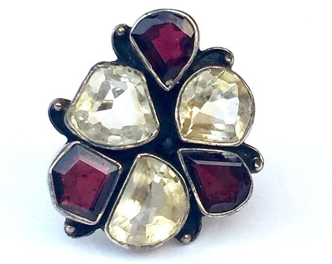 ring with Citrine and Garnet stones