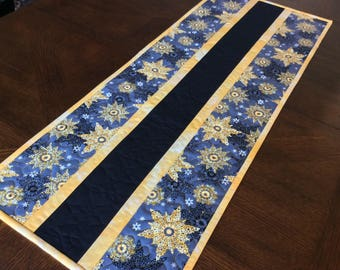 Snowflake Quilted Table Runner - yellow, gray, black snowflakes - Christmas/Winter Table Runner