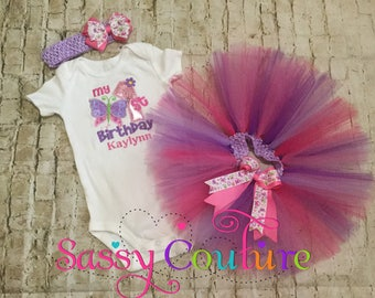 Butterfly 1st Birthday tutu outfit, butterfly tutu, birthday outfit with butterflies