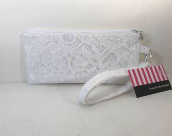 Bridal white Lace Wristlet with Zipper, Bridal wristlet, Bridesmaid  Purse, Wedding, Bag, cellphone case