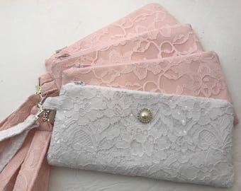 Bridal white Lace Wristlet with Zipper, Bridal wristlet, Bridesmaid  Purse, Wedding, Bag, cellphone case