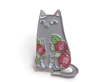 Camellia Cat Enamel Pin: botanical, cat, camellia, sweet peas, daffodils, pin, flowers, nature, kitten, chanel, natelledrawsstuff, flair