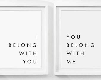 I Belong With You, You Belong With Me, Modern Farmhouse Print, Set of 2 Art Prints, Set of 2 Prints, Print Sets, Art Prints Set