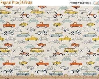 Premier Prints Retro Rides Maya Macon Home Decor Fabric, Retro Car Fabric, Cars Nursery Fabric, Orange Yellow Blue Cars Fabric - by 1/2 yar