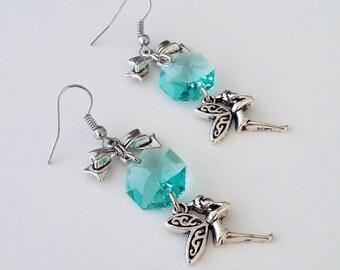 Tinkerbell earrings, bow earrings, crystal earrings, fairy jewelry, nickel free earrings, gift for children, gift for her, green earrings