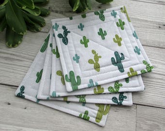 Cactus Coasters, Fabric Coasters, Quilted Coasters, Cacti Decor, Botanical Decor, Table Linens, Housewarming Gift, Drink Coasters