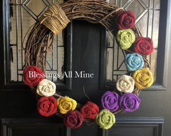 """18 inch Grapevine Wreath, """"Birthstone"""" Colors Burlap Flowers, Twine Wrapped, Customizable Mother Grandma Family Wreath, Gift"""