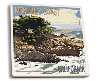 Monterey Coast, CA - Cypress Trees - LP Artwork (Set of 4 Ceramic Coasters)