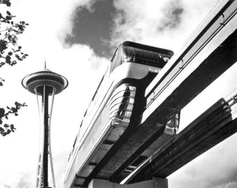 Seattle, Washington - Space Needle and Monorail - Vintage Photograph (Art Print - Multiple Sizes Available)