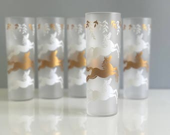 Vintage Libbey Horse Glasses / White and Gold Mid Century Tom Collins Glasses / Cavalcade Glasses/ Tall Frosted Horse Glasses